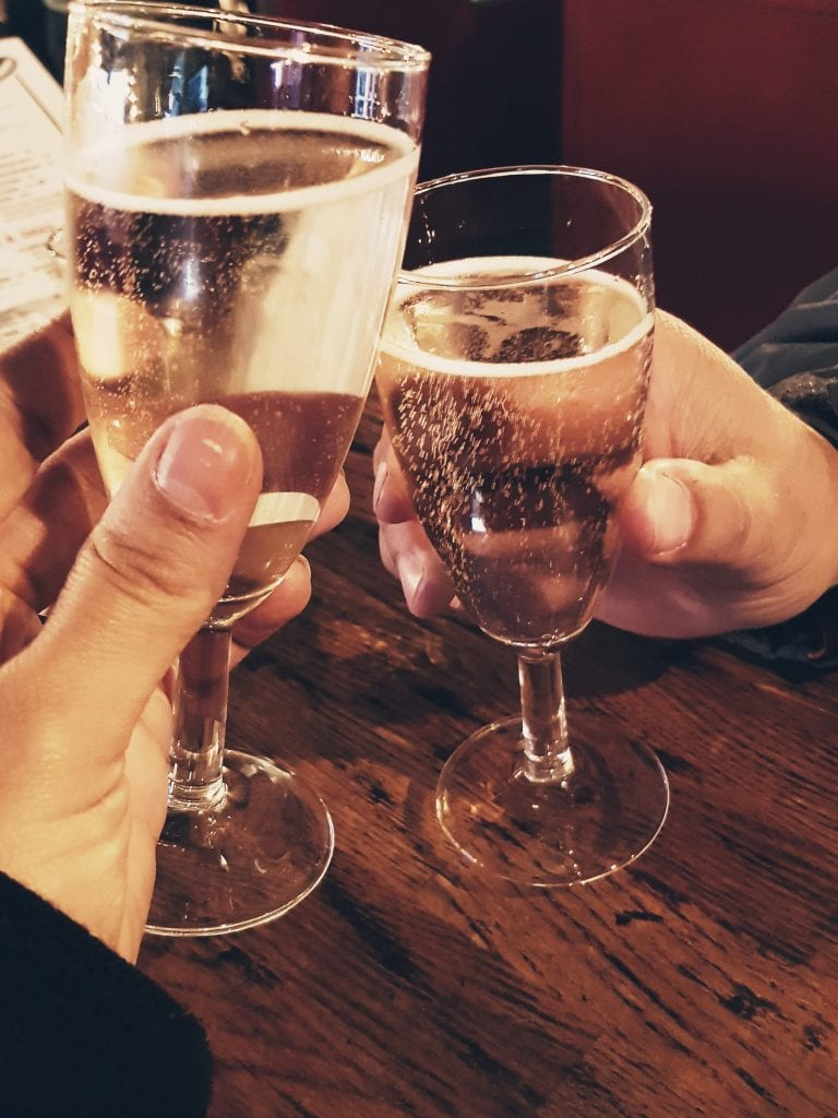 Sparkling wine at the Flaming Cow