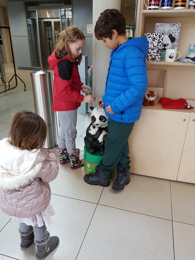 Donating at the WWF in Woking