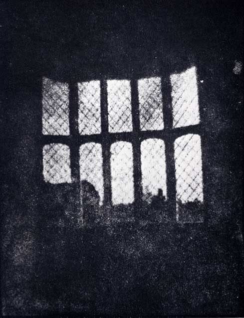 A latticed window in Lacock Abbey, photographed by William Fox Talbot in 1835. Shown here in positive form, this may be the oldest extant photographic negative made in a camera.
