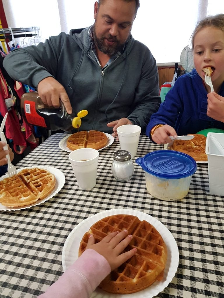 Free waffles for breakfast at Craters Of The Moon KOA in Arco, Idaho