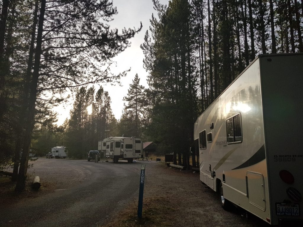 RV at Colter Bay RV Campground in the Tetons