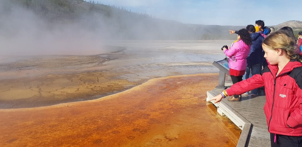 Stay on the walkways at Yellowstone