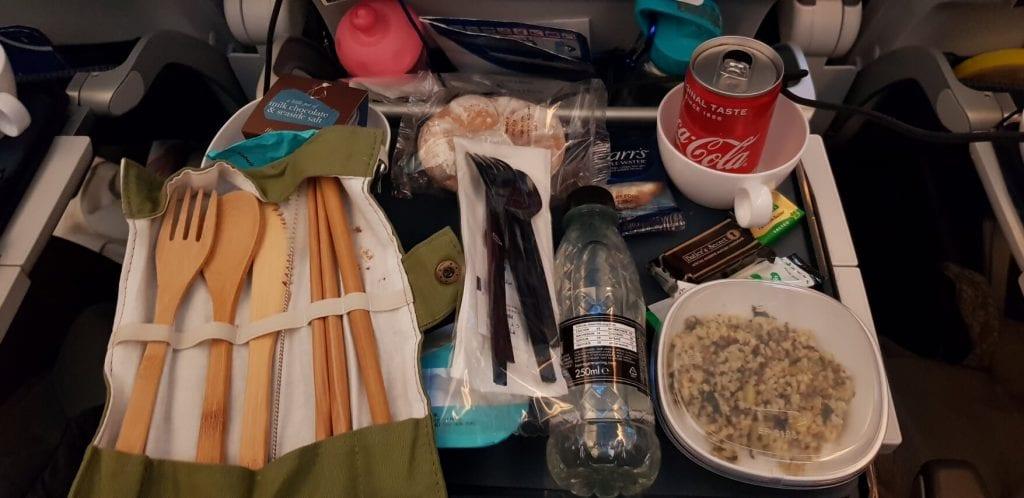 Reusable bamboo cutlery on flight