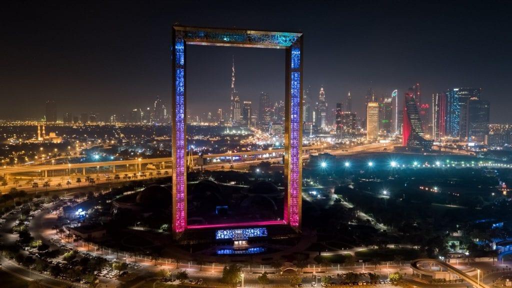 The Frame Dubai at night