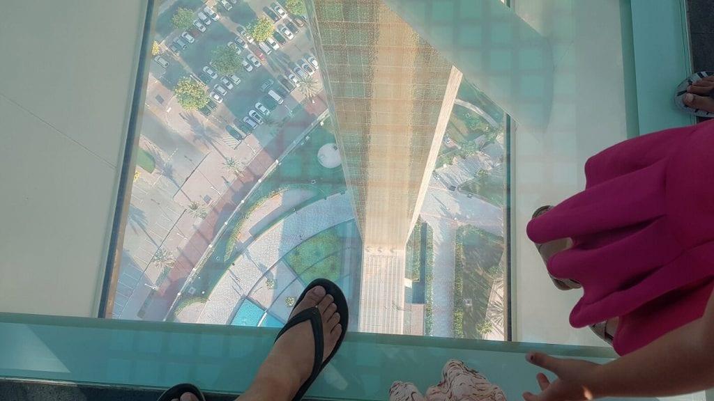 Walking over the bridge of The Frame Dubai - familytravelexplore.com